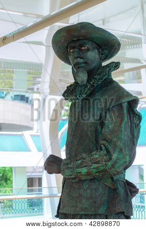 Bangkok - March 3 : An Unidentified Performer Participates As Van Der Werff (living Statue) In Livin