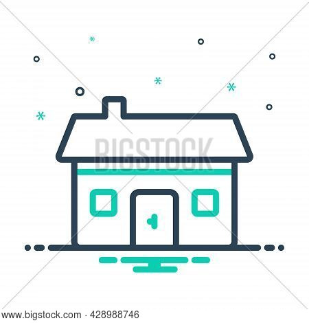 Mix Icon For Residential Dwelling Abode Habitation Building Architecture House Estate Apartment Cons