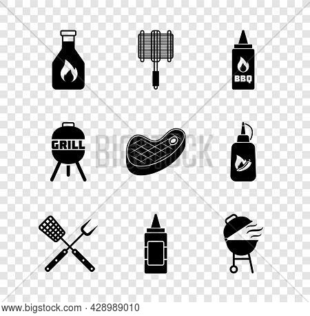 Set Ketchup Bottle, Barbecue Steel Grid, Crossed Fork And Spatula, Mustard, Grill, And Steak Meat Ic