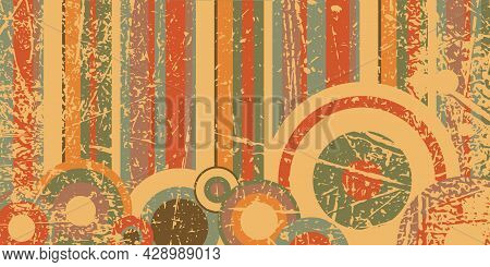 Color Texture In Retro Style. Bright Stripes And Circles With Scratched Texture. Style 80s Pop Art.
