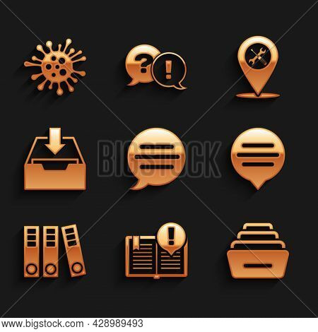 Set Speech Bubble Chat, Interesting Facts, Drawer With Documents, Office Folders, Download Inbox, Lo