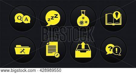 Set Folder Service, Interesting Facts, File Document, Upload Inbox, Test Tube With Virus, Speech Bub