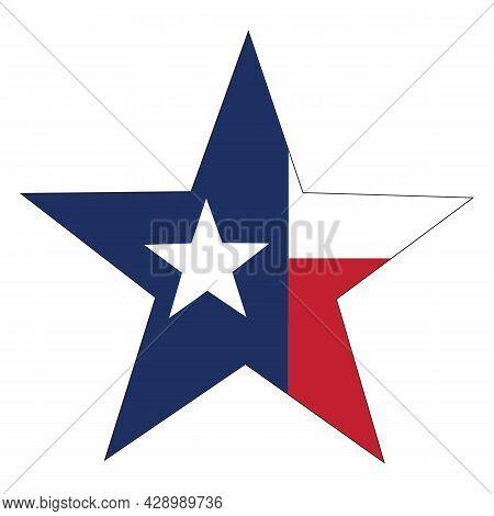 Star Texas State Flag Icon On White Background. Usa Texas State Flag Sign. Texas Logo. Flat Style.