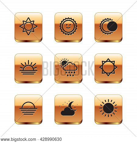 Set Sun, Sunset, Cloud With Moon And Stars, Rain Sun, Eclipse Of The, And Icon. Vector