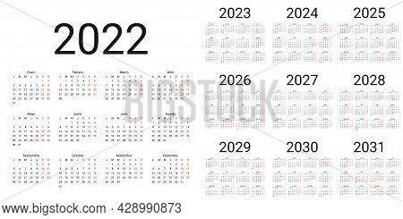 Spanish Calendar 2022, 2023, 2024, 2025, 2026, 2027, 2028, 2029, 2030, 2031 Years. Vector. Week Star