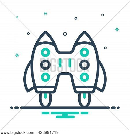 Mix Icon For Jet-pack Interface Rocket Fabrication Flying Machine Jet Plane Space