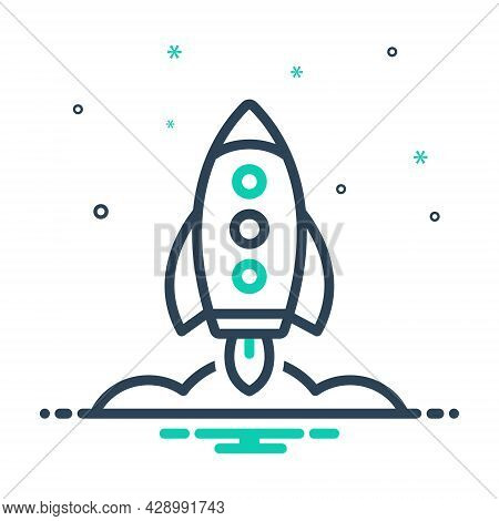 Mix Icon For Rocket Missile Launch Space Universe  Fire Flame Galaxy Spaceship Technology Startup Ex