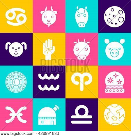 Set Planet Earth, Magic Ball, Pig Zodiac, Horse, Palmistry Of The Hand, Dog, Cancer And Ox Icon. Vec