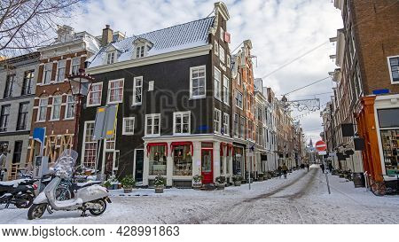 Snowy Amsterdam in winter in the Netherlands