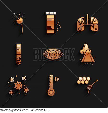 Set Reddish Eye Allergic Conjunctivitis, Medical Digital Thermometer, Honeycomb With Honey Dipper, R