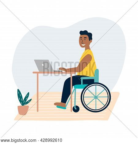 Disabled Man Sitting In A Wheelchair. The Concept Of Employment For People With Special Needs. Black
