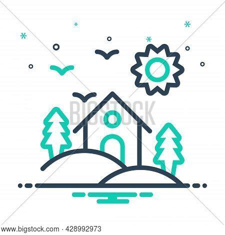 Mix Icon For Habitat Dwelling Abode Vicarage Residence Accommodation Shelter Domicile Hill-area