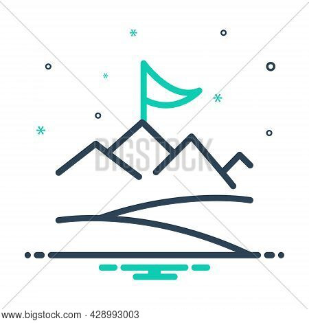 Mix Icon For Objective Achievement Accomplishment Cognition Success Prosperity  Flag Challenge Motiv
