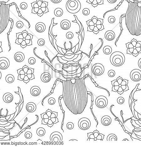 Seamless Pattern With Contour Beetles, Deer And Flowers, Dark Contour Insects On A White Background