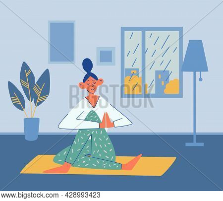Young Girl Does Yoga At Home. Rain Outside The Window. Sport, Yoga, Fitness Concept. Active Lifestyl