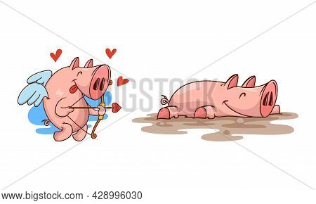 Pink Pig As Cupid With Bow And Arrow And Lying In Mud Puddle Vector Set