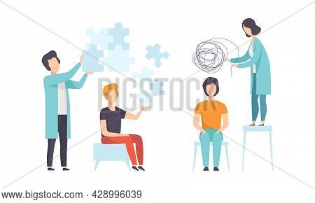 Man Having Mental Disorder And Psychic Illness Engaged In Psychotherapy And Treatment Vector Set