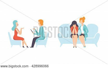 Woman Having Mental Disorder And Psychic Illness Engaged In Psychotherapy And Treatment Vector Set