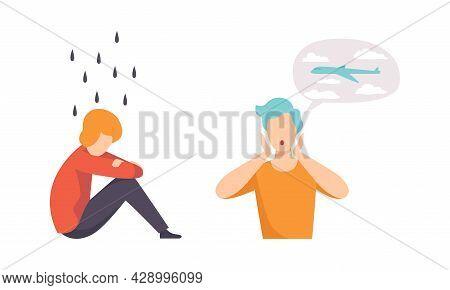 Man Having Mental Disorder And Psychic Illness Vector Set