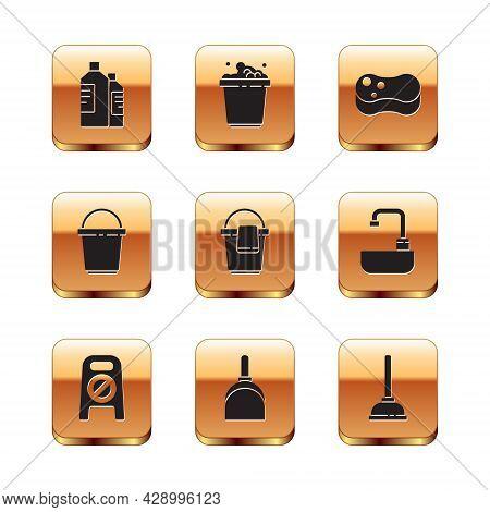 Set Bottles For Cleaning Agent, Wet Floor And Progress, Dustpan, Bucket With Rag, Sponge, Rubber Plu