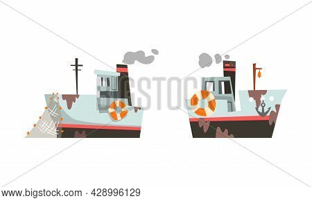 Fishing Vessel Or Boat With Net And Steaming Funnel For Catching Fish In The Sea Vector Set