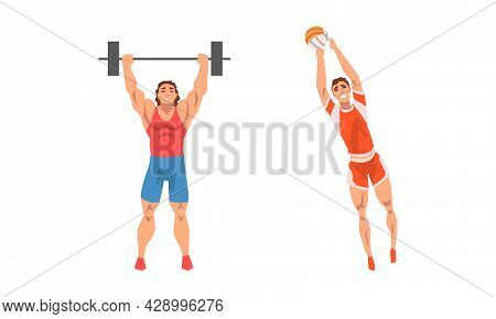 Muscular Man Character Lifting Heavy Barbell And Playing Volleyball Vector Set