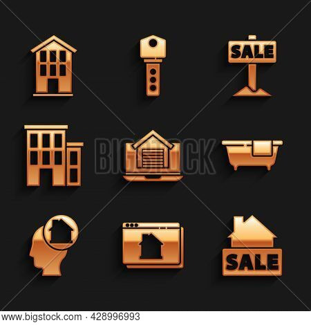 Set Online Real Estate House, Hanging Sign With Sale, Bathtub, Man Dreaming About Buying, House, And