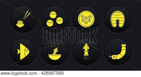 Set Fish, Steak, Soup With Octopus, Octopus, Caviar On Plate, Takoyaki, Shrimp And Sushi Icon. Vecto