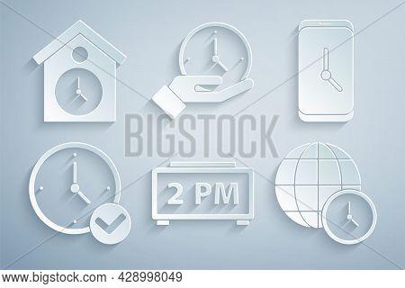 Set Digital Alarm Clock, Alarm App Mobile, Clock, World Time, And Retro Wall Watch Icon. Vector