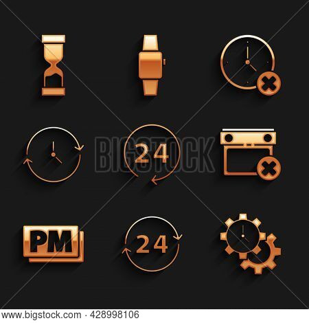 Set Clock 24 Hours, Time Management, Calendar Date Delete, Pm, And Old Hourglass Icon. Vector