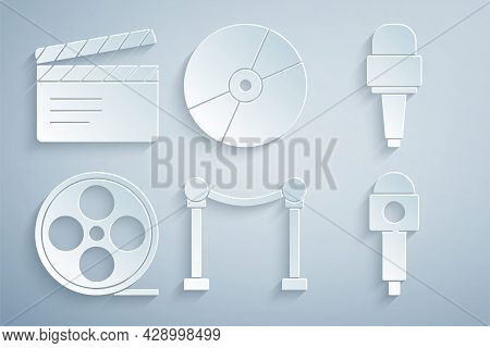 Set Rope Barrier, Microphone, Film Reel, Cd Or Dvd Disk And Movie Clapper Icon. Vector