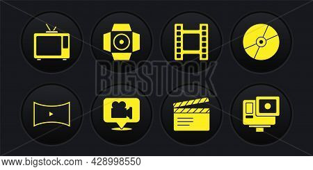 Set Online Play Video, Cd Or Dvd Disk, Camera And Location, Movie Clapper, Play Video, Spotlight, Ac