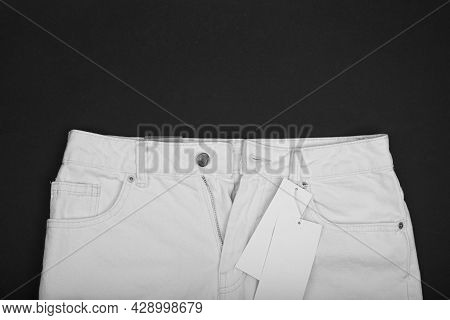 New Clothes. Clothes Tags. Price Tag. Mockup. White Pants, Shorts