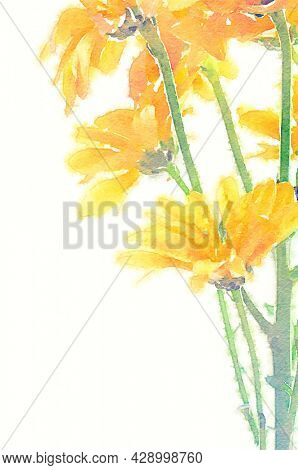 Hand painted water color art illustration. Beautiful watercolor drawing of a bunch of yellow flowers. Graphic art for wall decor and frames.