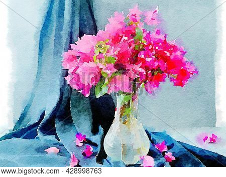 Hand painted water color art illustration. Beautiful classic watercolor still life painting with flower bunch in a vase against drapery.