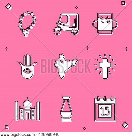Set Rosary Beads Religion, Taxi Tuk Tuk, Cup Of Tea And Leaf, Hamsa Hand, India Map, Christian Cross