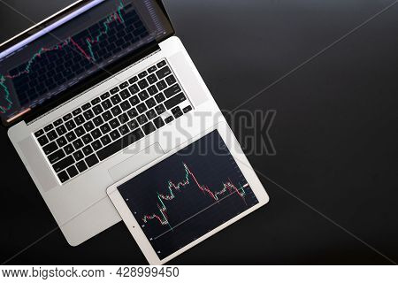 Forex Trading. Investment Business Technology App On Digital Screen. Finance Application For Sell, B