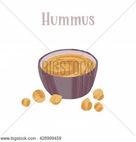 Hummus In A Bowl With Chickpea Around. Healthy Nutrition Product.