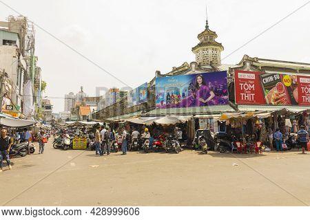 Ho Chi Minh, Vietnam - Oct 17, 2019 : Unidentified Local Vietnamese People Walking On The Street Nea