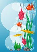 Underwater background with floating marine fish and plants poster