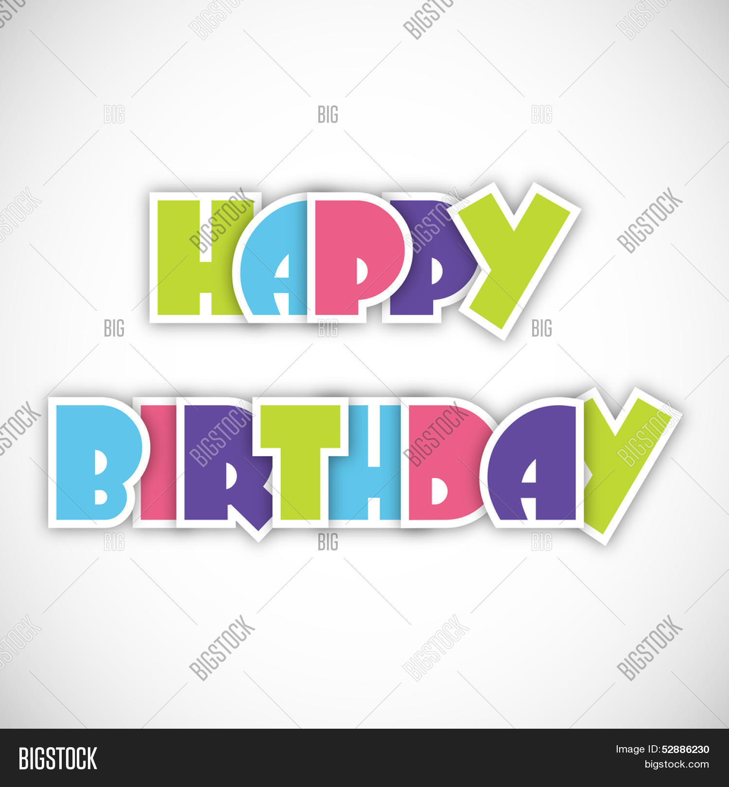 Colorful text happy birthday on abstract grey background can be use as sticker tag