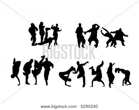 Silhouette of boys and girls dancing on different hip hop style: Krump Break dance Old school etc. poster