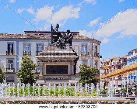Isabel La Catolica Square In Granada, Spain