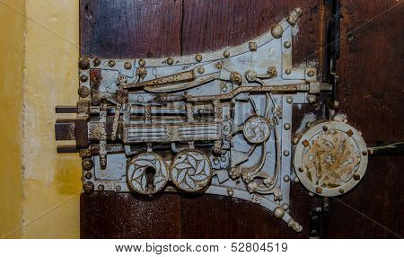Old medieval door lock in Biertan, Romania