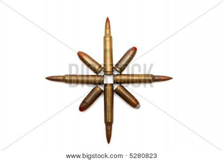 Eight-pointed star of M16 and Parabellum cartridges isolated poster