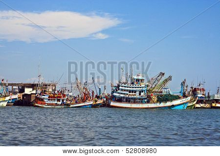 Fishermen Prepare The Boat For The Daily Catch