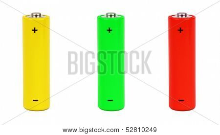 Batteries  isolated on white background poster