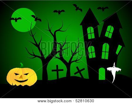 A halloween vector illustration with a ghost  in front of a haunted house