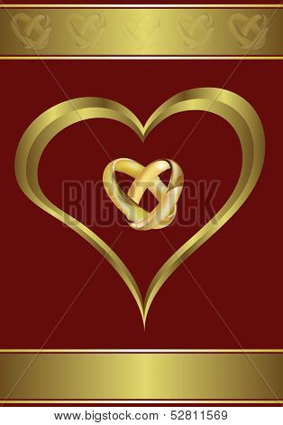 A  valentines or wedding background  a large central heart and rings on a black background