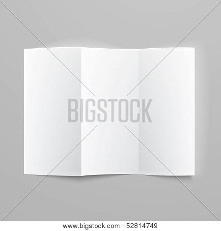 Blank trifold paper z-folded brochure.